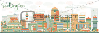 Abstract Wellington skyline with color buildings.
