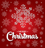 Christmas card with white snowflakes on red background.