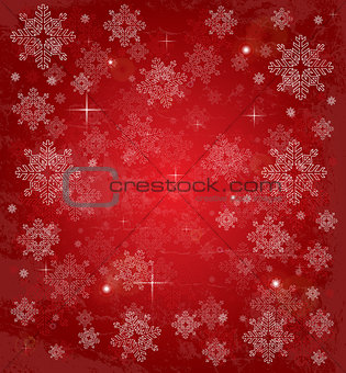 Christmas card with white snowflakes and stars.