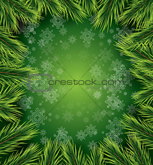Christmas card with white snowflakes and pine branch.