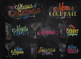 Cocktail menu colored chalk