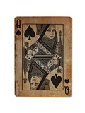 Very old playing card, Queen of spades
