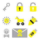 computer security icon set flat