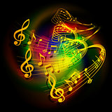 illustration of musical background waves musical notes on a colored background.