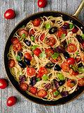 rustic italian spaghetti puttanesca pasta