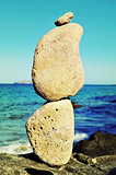 stack of balanced stones in Ibiza Island, Spain