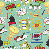 Seamless pattern background with comic book speech bubbles