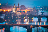 Top view bridges on the Vltava River in Prague, Czechia