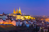 Gold Prague Castle at night, Czech Republic