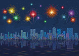 Night city landscape with fireworks, seamless