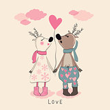 Pair of deers at Valentines day.