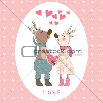 Pair of deers at Valentines day.