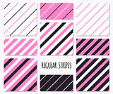 Set of pink seamless patterns with diagonal stripes