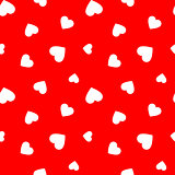 Red seamless pattern with simple hearts