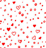 Hand drawn seamless doodle pattern with irregular hearts, sircles and spots