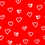 Red pattern with hand drawn hearts for Valentines day