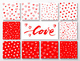 Set of red and white patterns with hearts for Valentines Day