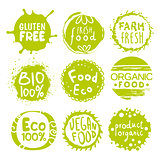 Green Eco Food Lables Set