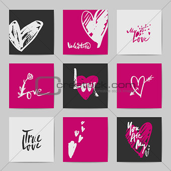 Abstract postcard Valentine templates