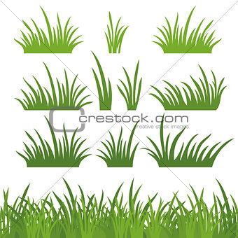 Green grass, seamless and set