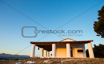 church of Prophet Ilias during sunset, Greece