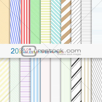 20 color seamless striped patterns