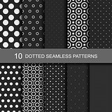Collection of black seamless patterns.