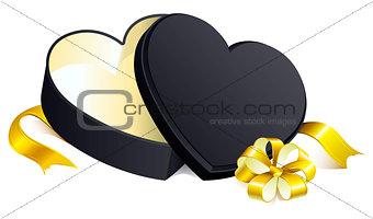 Black gift open box heart shape