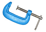 Metal blue clamp on white