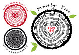 family tree with heart rings, vector