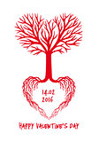 Red heart tree, vector