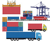 Containers by truck and container ship