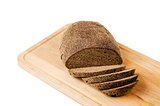 Black homemade bread, isolated on white