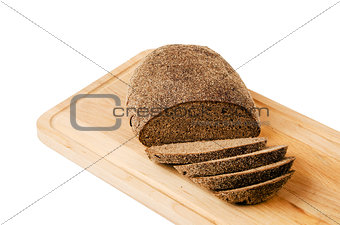 Black homemade bread, isolated on white