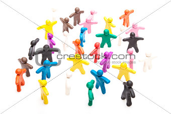 Crowd group of colourful plasticine