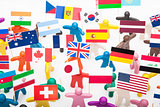 Plasticine humans with the various flags