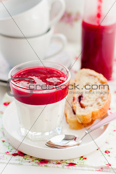 Greek Yogurt with Berry Sauce and Slices of Sweet Bread