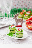 Cucumber Rolls Stuffed with Feta, Herbs, Capsicum and Black Oliv