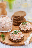 Smoked Salmon, Cream Cheese, Dill and Horseradish Pate on Rye Br