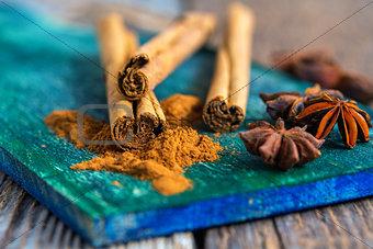 Ceylon cinnamon and star anise closeup.