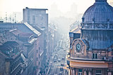 Busy Zagreb street in morning haze