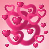 Heart shapes on pink background.