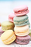 Stacked Pastel Colored Macarons
