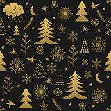 Seamless Christmas pattern gold