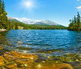 Lake Strbske Pleso (Slovakia) spring view.