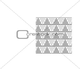 A monochrome pattern of triangles with polka dots
