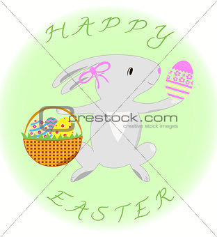 Greeting card with rabbit and eggs  Happy Easter