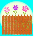 The fence with the word Spring and flowers
