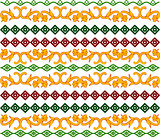 The pattern of swirls and rhombus