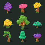 Cartoon Trees, Vector Set